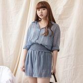 Poly Lulu 微透視鬆緊帶三件式套裝-藍【91280066】