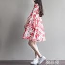 棉麻洋裝 夏季女裝文藝大碼棉麻連身裙女中長款寬鬆印花襯衫裙兩件套裝 韓菲兒