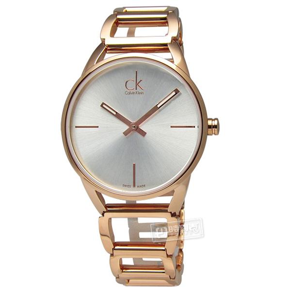 CK / K3G23626 / Stately 優雅時尚 不鏽鋼手鍊式指針腕錶 銀白x玫瑰金 34mm