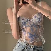 設計感綁帶蕾絲刺繡吊帶背心女外穿早春夏季新款爆款辣妹上衣