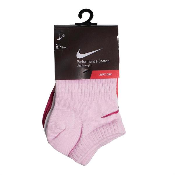 Nike 襪子 Lightweight Sock 粉紅 紅 白 童款 踝襪 一組三入 【ACS】 SX3804-969