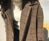 #大衣#格紋#英倫風 毛呢 長版 長大衣 外套 M碼【MYPP666】 icoca