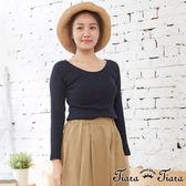 【Tiara Tiara】百貨同步aw 純棉彈性貼身長袖上衣(藏青)