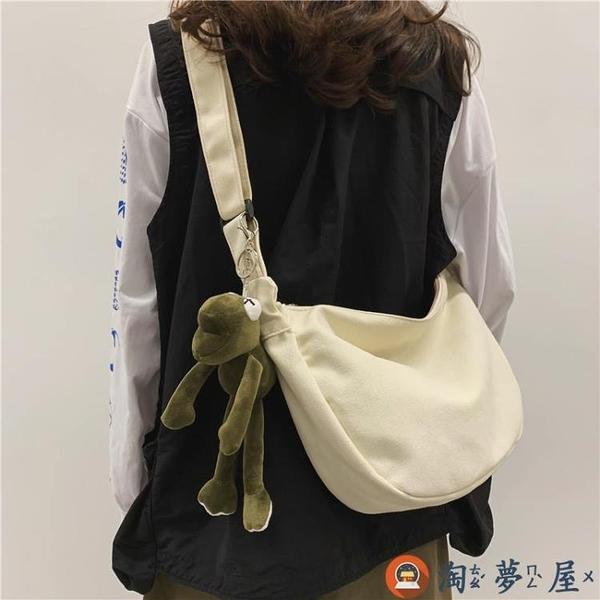 包包女工裝風斜背百搭運動單肩側背包簡約帆布包【淘夢屋】