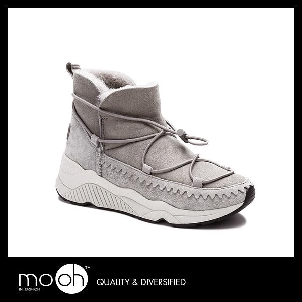 歐美時尚羊皮毛一體短筒雪靴 真皮綁帶簡約厚底運動鞋厚底雪靴 mo.oh (歐美鞋款)