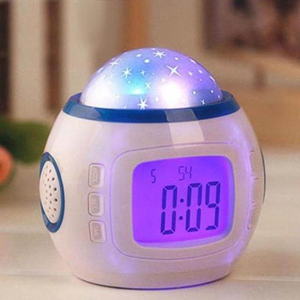 投影鬧鐘學生床頭臥室可愛電子鐘錶創意夜光懶人多功能兒童小鬧鐘