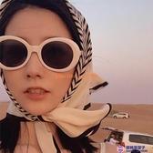 拍照沙雕墨鏡女歐美ig復古白色太陽鏡女網美款白框抖音蹦迪眼鏡【櫻桃菜菜子】