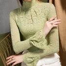高領毛衣內搭蕾絲打底衫女網紗長袖秋冬新款2020洋氣喇叭袖上衣潮