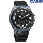 CASIO / MWC-100H-2A / 卡西歐 立體刻度 LED照明 日本機芯 防水100米 運動 橡膠手錶 黑x藍框 44mm