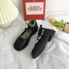 黑色方頭瑪麗珍小皮鞋可愛女日系jk英倫風夏季薄款學生韓版百搭單 怦然心動