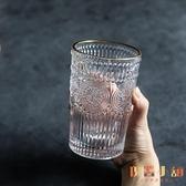 復古風浮雕金邊玻璃杯茶葉杯果汁牛奶飲料杯筆筒化妝刷桶【倪醬小舖】