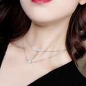項鍊 雙層 珍珠 拼接 鎖骨鏈 個性 簡約 短款 項鍊【DD1806003】 ENTER  10/04