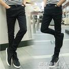 春秋季韓版修身型彈力黑灰色牛仔褲男士新款休閒小腳褲長褲子