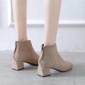 粗跟絨面小短靴子女2020年新款秋冬季方頭中跟馬丁瘦瘦靴ins短筒