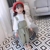 2020新款女童春秋新款韓版洋氣兒童吊帶褲女寶寶春裝小童女孩褲子
