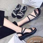 新款涼鞋女中跟夏季坡跟原宿風ulzzang鬆糕鞋女厚底高跟涼鞋 樂芙美鞋