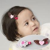 UNICO 韓版 兒童可愛大象和翅膀全包布髮夾組(二入)