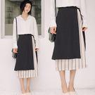多層次不規則綁帶條紋高腰A字裙/長裙 S-L碼【KN71256】