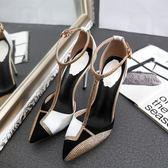 2018春季新款水鑚尖頭細跟高跟鞋氣質性感拼色簡約歐美單鞋女涼鞋   良品鋪子