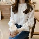 蕾絲打底衫 燈籠袖蕾絲打底衫女內搭秋季2021年韓版拼接圓領襯衫洋氣長袖上衣 薇薇