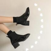 馬丁靴女2020秋季新款韓版網紅百搭英倫風中跟粗跟短靴潮 俏girl