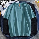 港風純色t恤男潮牌短袖寬鬆潮流新品純棉半袖百搭男女情侶裝上衣 露露日記