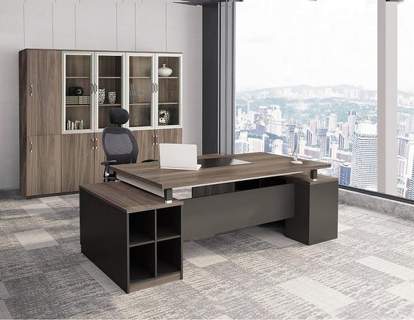 【IS空間美學】迪凱恩5.8尺胡桃木紋色辦公桌整組(L型/K-601)