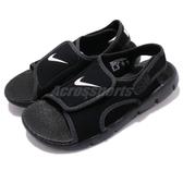 Nike 涼鞋 Sunray Adjust 4 GS PS 黑 白 小朋友 中童鞋 大童鞋 涼拖鞋【PUMP306】 386518-011