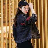 黑色刺繡牛仔外套女寬鬆複古港風潮早秋2020新款韓版牛仔衣