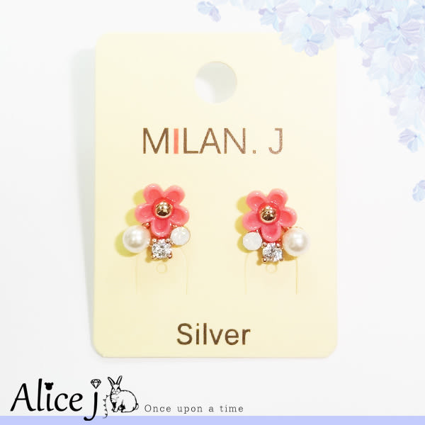 珍藏浪漫小粉紅花氣質珍珠耳環