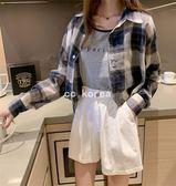 短版寬鬆經典大格紋襯衫 CC KOREA ~ Q24098