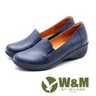 W&M 舒適真皮 厚底坡跟楔型鞋 女鞋-藍(另有黑)