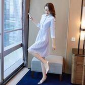 襯衫連衣裙早秋裝顯瘦中長款長袖正式場合洋裝裙【奈良優品】