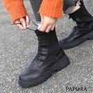 PAPORA粗跟帥氣英倫風機車靴Q7256黑