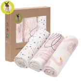 德國Lassig-超柔手感竹纖維嬰兒包巾毯3入-天鵝