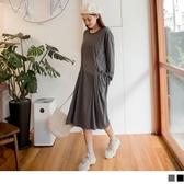 《DA7150-》素色修身剪裁花邊大口袋長洋裝 OB嚴選