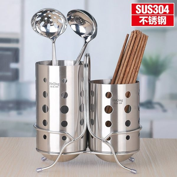 小熊居家304不銹鋼筷子筒 創意筷子籠 瀝水筷子盒筷筒筷子架餐具籠架特價