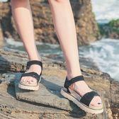 仙女涼鞋女夏平底學生2018新款正韓簡約百搭羅馬原宿厚底沙灘女鞋