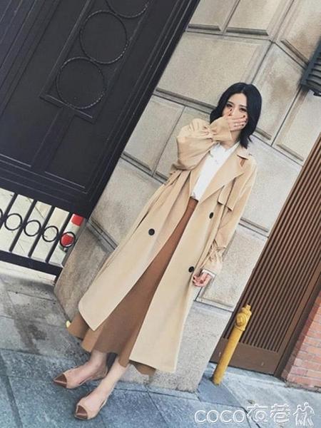風衣外套 2021年春秋季新款卡其色風衣女中長款過膝韓版寬鬆薄款外套潮 coco