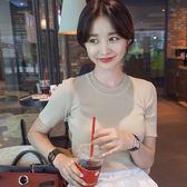 正韓洋裝2018夏季新款冰絲修身短袖針織衫套頭打底衫緊身半袖 【快速出貨八折免運】