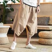 泰國大象寬管褲燈籠褲男大碼胖子寬鬆亞麻短褲七分褲大襠沙灘褲夏 3C優購