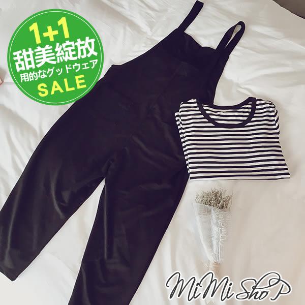孕婦裝 MIMI別走【P31204】俏皮愛戀-長款‧條紋上衣+吊帶長褲兩件式‧孕婦套裝↘特價