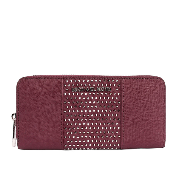 【MICHAEL KORS】防刮皮革+鉚釘ㄇ型拉鏈長夾(紫莓色)35F7SD7Z3L PLUM
