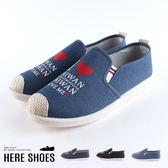 [Here Shoes]休閒鞋- I Love Taiwan 字母印花 乳膠記憶鞋墊 布面休閒鞋 懶人鞋 舒適好穿脫-ANT68
