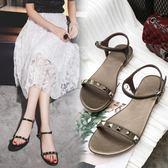 新款平跟涼鞋水鑚甜美韓版平底鞋舒適休閒女鞋潮百搭     初語生活