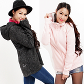 女禦寒保暖連帽中長版外套 柔暖內細絨修身 歐規加大碼(C1812 粉紅/米白) 戶外趣