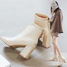 瘦瘦靴女2021新款百搭粗跟方頭米色短靴女冬天高跟鞋女方跟馬丁靴一米陽光