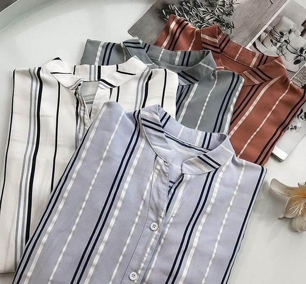 DE shop - 條紋設計感短袖襯衫 - HL-2073