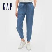 Gap女裝 時尚水洗鬆緊牛仔褲 542753-中度靛藍
