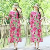 棉麻洋裝 實拍2020春夏新款棉麻印花套頭圓領女生連衣裙寬鬆顯瘦大碼中長裙 歐歐